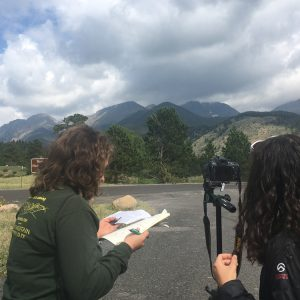 Two students documenting changes in Rocky Mtn National Park