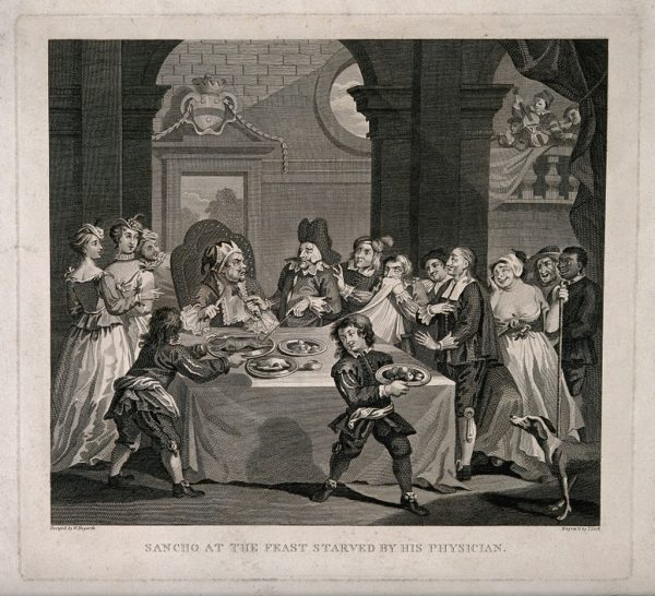 Sancho Panza (the squire of Don Quixote) , at a banquet, being starved for health reasons by his physician. Engraving by T. Cook after W. Hogarth after M. de Cervantes Saavedra.