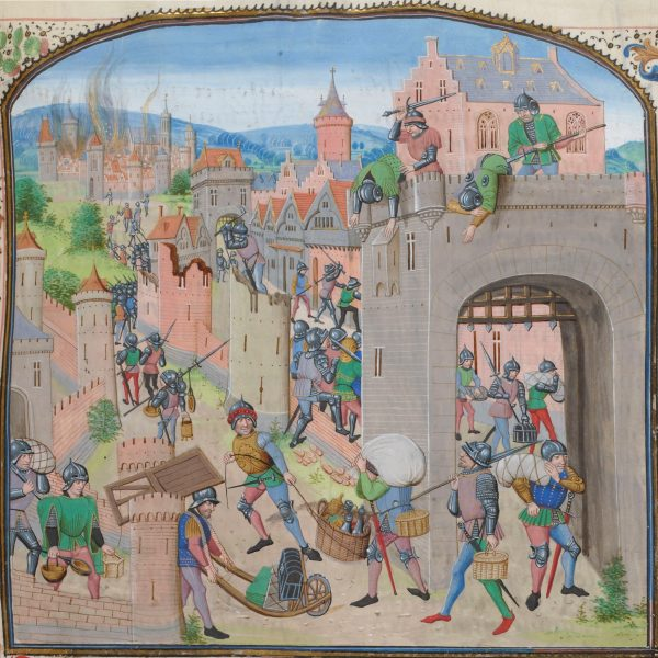 The Tard-Venus pillage Grammont in 1362, from Froissart's Chronicles.