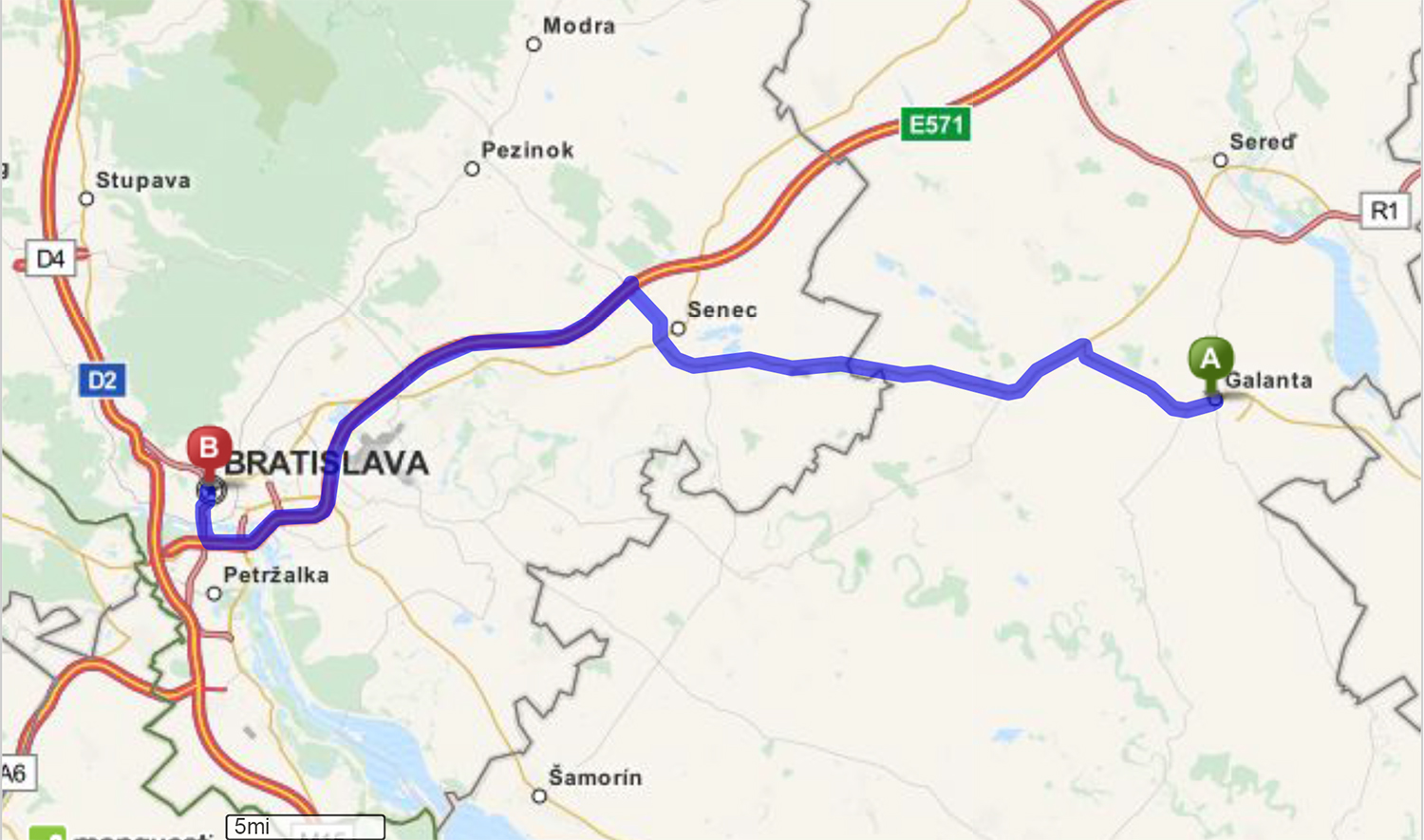 Driving Directions from Galanta, undefined to Bratislava, undefi