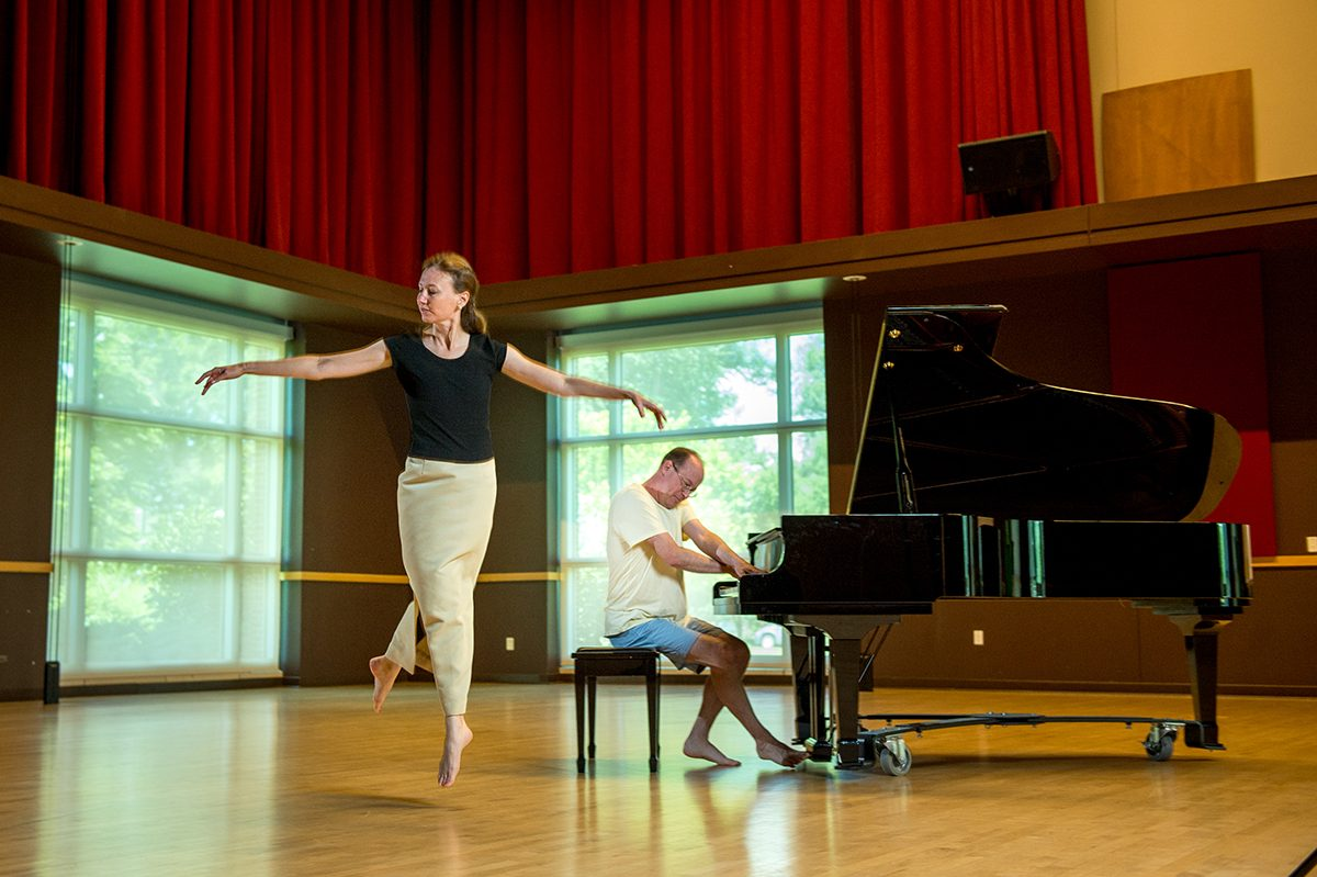 Dalcroze program instructors Dr. Bonnie Jacobi Assistant Professor of Music Education, Area Coordinator for Music Education and Director of the Colorado Kodály Institute and Fritz Anders Guest Associate Professor in the College of Liberal Arts Music, Theatre and Dance departments at the University Center for the Arts Colorado State University, August 4, 2015.