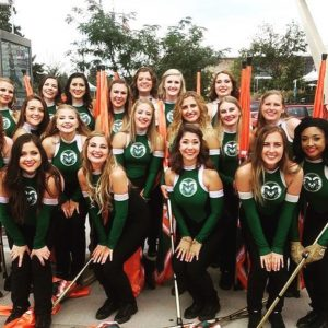 CSU Marching Band Colorguard members group photo