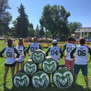 Six CSU Drumline members being silly