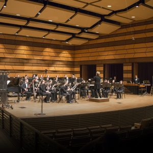 Rebecca Phillips conducts the Wind Ensemble in Griffin Concert Hall