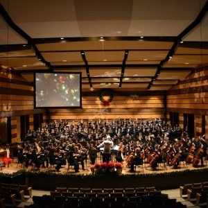 Orchestra on Griffin Concerts Hall stage during the Holiday Spectacular
