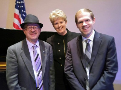 Les Hicken, director of Bands at Furman University, Rebecca Phillips, and James David