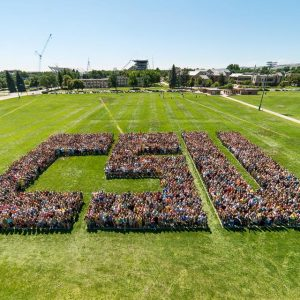 Freshman pictured spelling out CSU