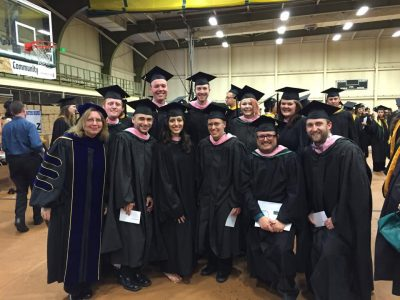 Dr. Grapes with music students at Spring 2016 Commencement