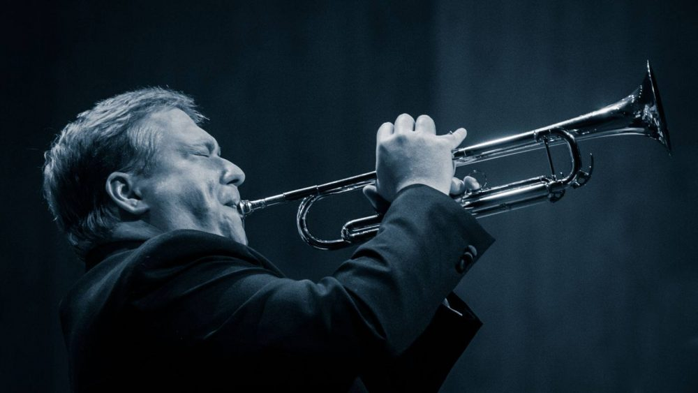 Brian Shaw plays his trumpet