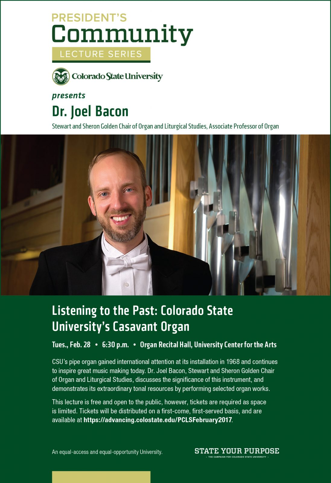 Poster for President's Community Lecture Series featuring Joel Bacon