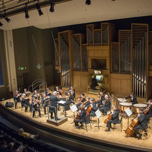 Members of the Fort Collins Symphony, directed by Wes Kenney, performing in the Organ Recital Hall