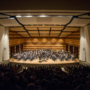 Middle School Outreach Ensemble band performs in Griffin Concert Hall