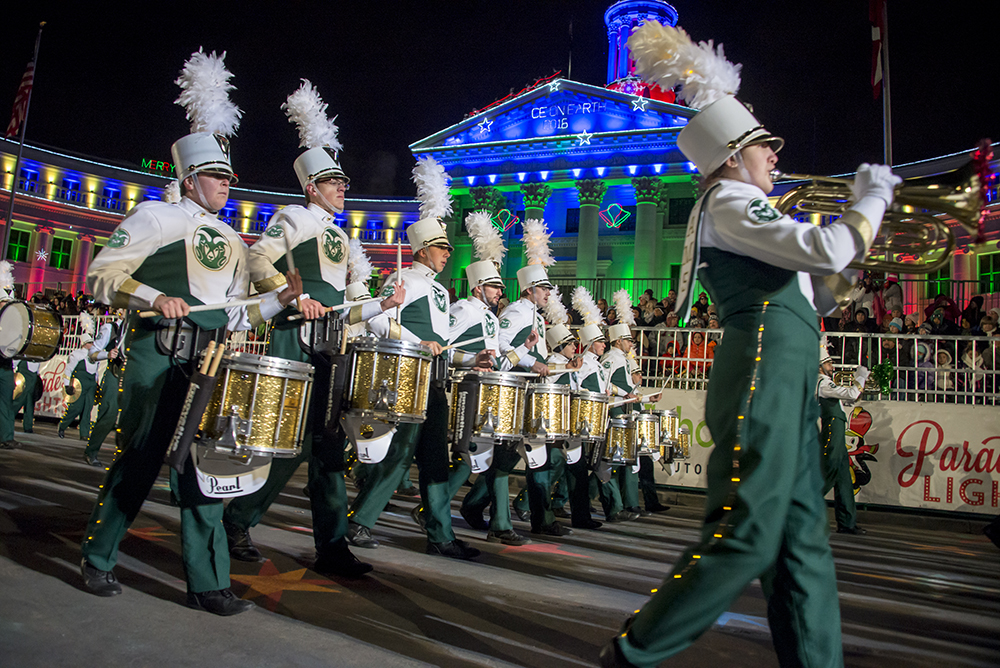 CSU Marching Band at the Parade of Lights in Denver