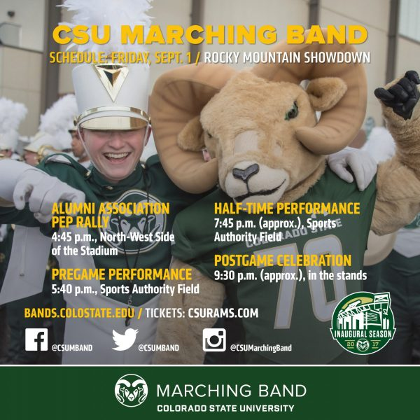 CSU Marching Band schedule graphic