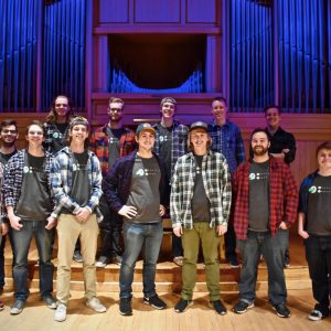 The A Capella group Mountain Horns on the stage in the Organ Recital Hall