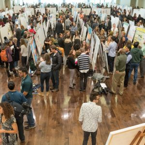 Graduate students display their research at the Graduate Research and Creativity Showcase