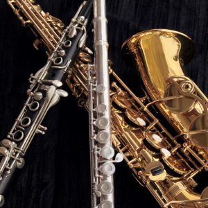 Instrument Photo of Woodwinds Clarinet, Flute, and Saxophone