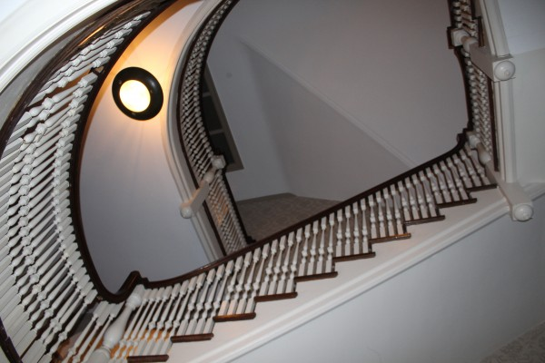 The main guest staircase, accessible from the second floor