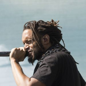"Stephen ""Brer Rabbit"" Brackett of the Flobots performing"