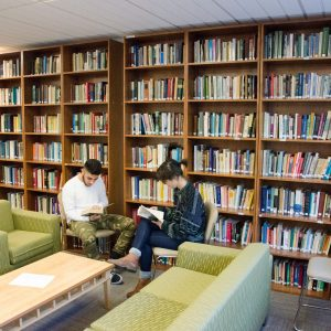 Students reading together in the Ethics Center