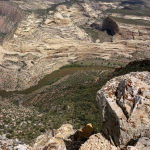 A river flows through a canyon.