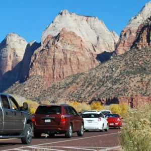 A line of cars waits to get into Zion National Park.