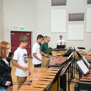 The Pre-College Percussion Camp rehearses in Runyan Music Hall