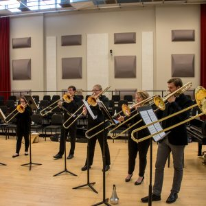 The CSU Trombone Studio in rehearsal