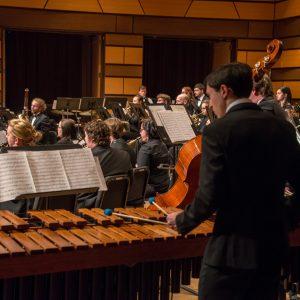 Percussionist in the CSU Wind Symphony