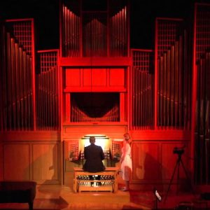 Joel Bacon pictured at the Casavant Organ for the Halloween Extravaganza