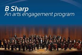 B-Sharp graphic with orchestra standing on stage
