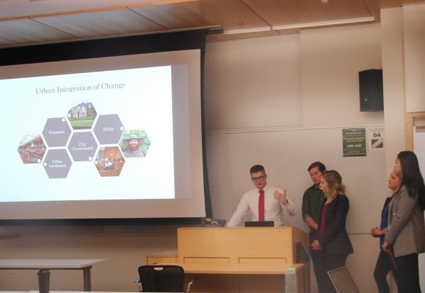 Undergraduate students presenting a project to a class
