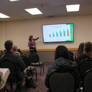 Sociology graduate student presents her research to a room of people