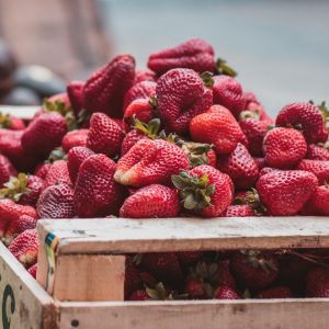 Strawberries at a market
