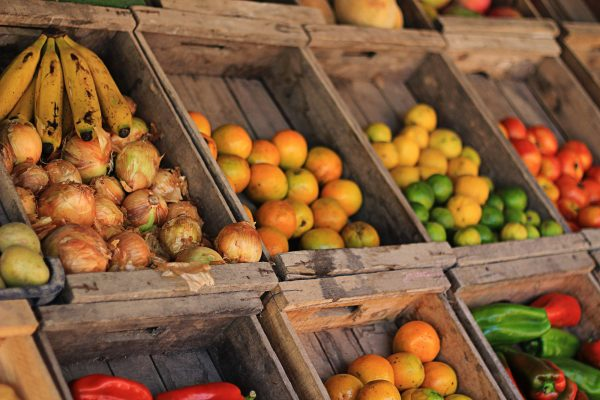 Produce stand with various fruits