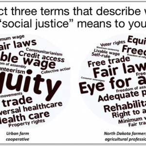 "Word cloud with words that describe what ""social justice"" means"