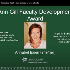 screenshot of Annabel accepting award virtually