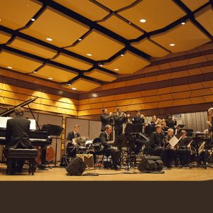Jazz Ensemble I playing in Griffin Concert Hall