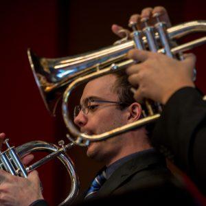 Flugelhorn players in the CSU Jazz Band
