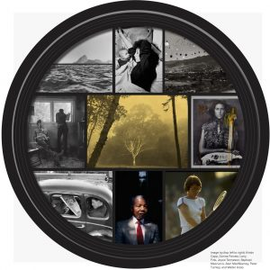 Black camera lens filled with a collage of photographs by Kristin Capp, Donna Ferrato, Larry Fink, Joyce Tenneson, Raphael Mazzucco, Alen MacWeeney, Peter Turnley, and Walter Iooss