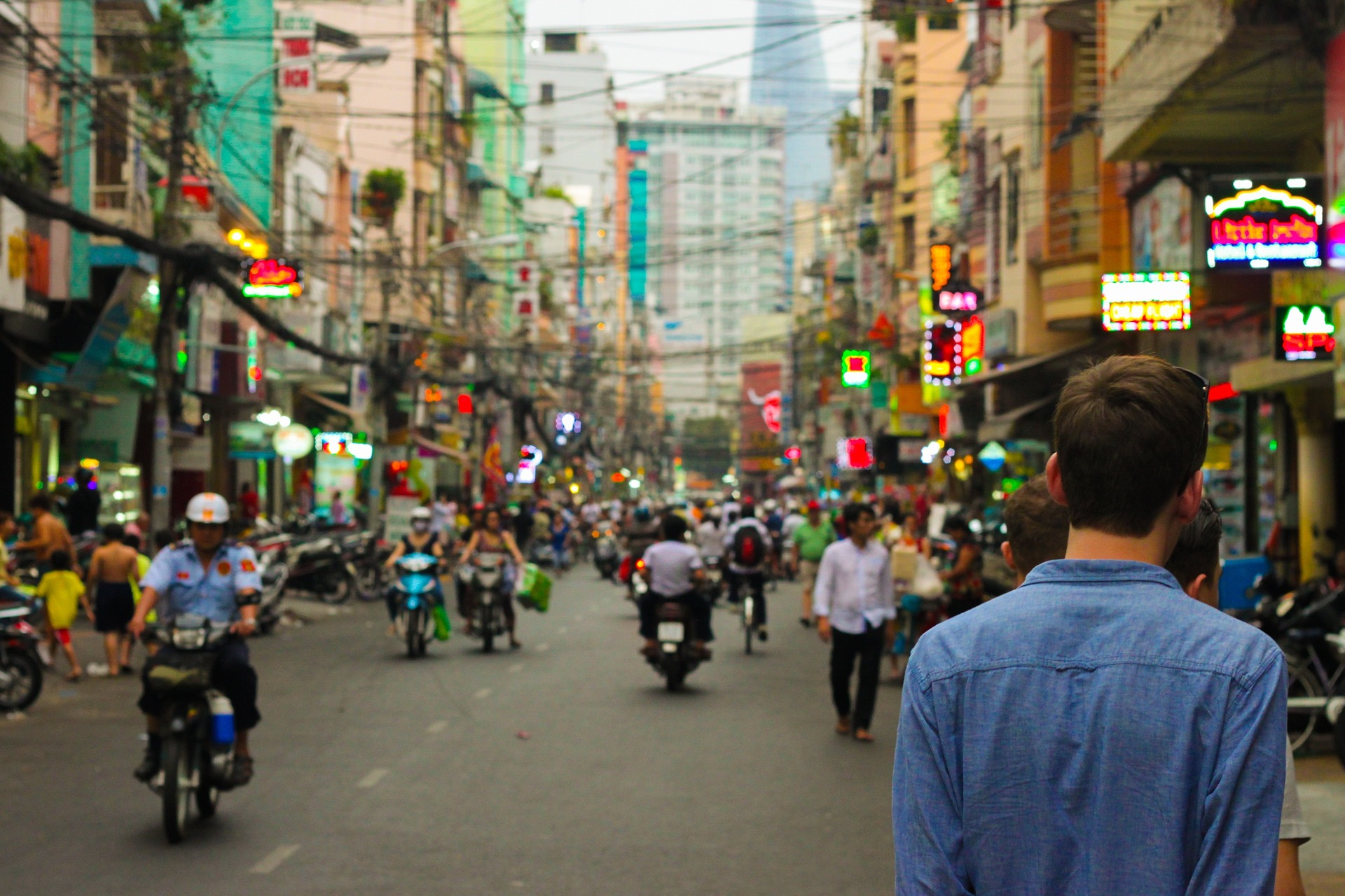 Crowded urban street