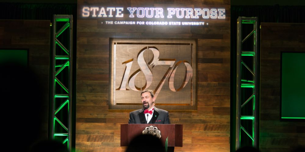 CSU President Tony Frank announces the Campaign for Colorado State University at the annual 1870 Dinner.