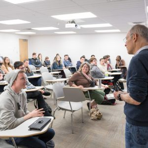 Renowned bioethicist and health policy expert Dr. Ezekiel Emanuel speaks to philosophy students