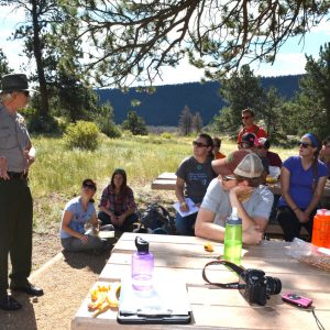 PLHC students hear from a ranger in Rocky Mountain National Park.