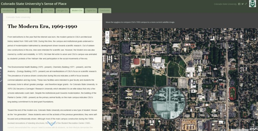 Using a storymap to explore architecture, place and how people use the built environment at CSU (based on a forthcoming book from James Hansen). As users hover their cursor over a current aerial view of campus, a circular spyglass shows what it looked like in 1993.