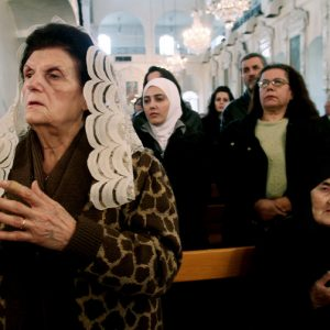 Syrian Christians and Muslims offer prayers for nuns held by rebels, at the Greek Orthodox Mariamiya Church in Damascus, Syria, in 2013. AP Photo