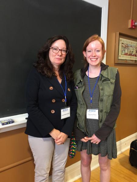 Corinne Petro stands with Professor Linda Alcoff