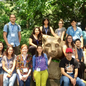 PIKSI Rock student participants pose in front of Penn State Lion statue for group photo