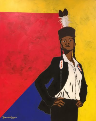 Tippeconnic called his most recent work – a Comanche woman in business attire wearing a traditional headdress – some of his best work.