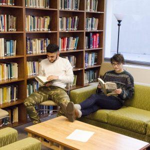 Students reading in the Jann Benson Ethics Center